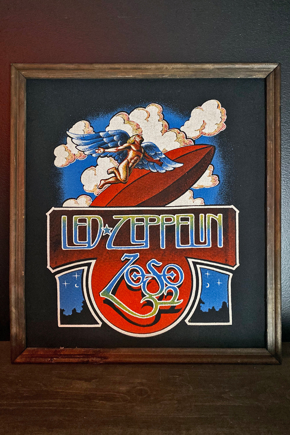 Vintage Framed Led Zeppellin Zoso Fabric Print, Home Adornment, backbite, BACKBITE