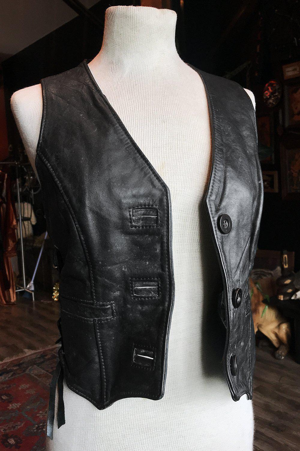 The Perfect Black Leather Lace-Up Vest
