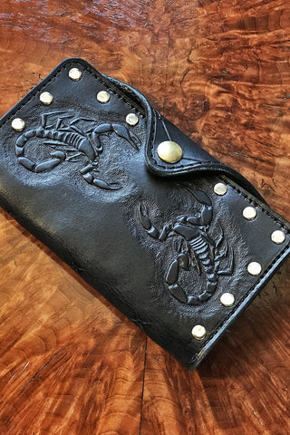 PRE-ORDER Handcrafted Double Scorpion Black Leather Riveted Wallet by Trippy Tree