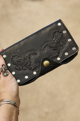 -PRE ORDER- Handcrafted Double Scorpion Black Leather Riveted Wallet by Trippy Tree