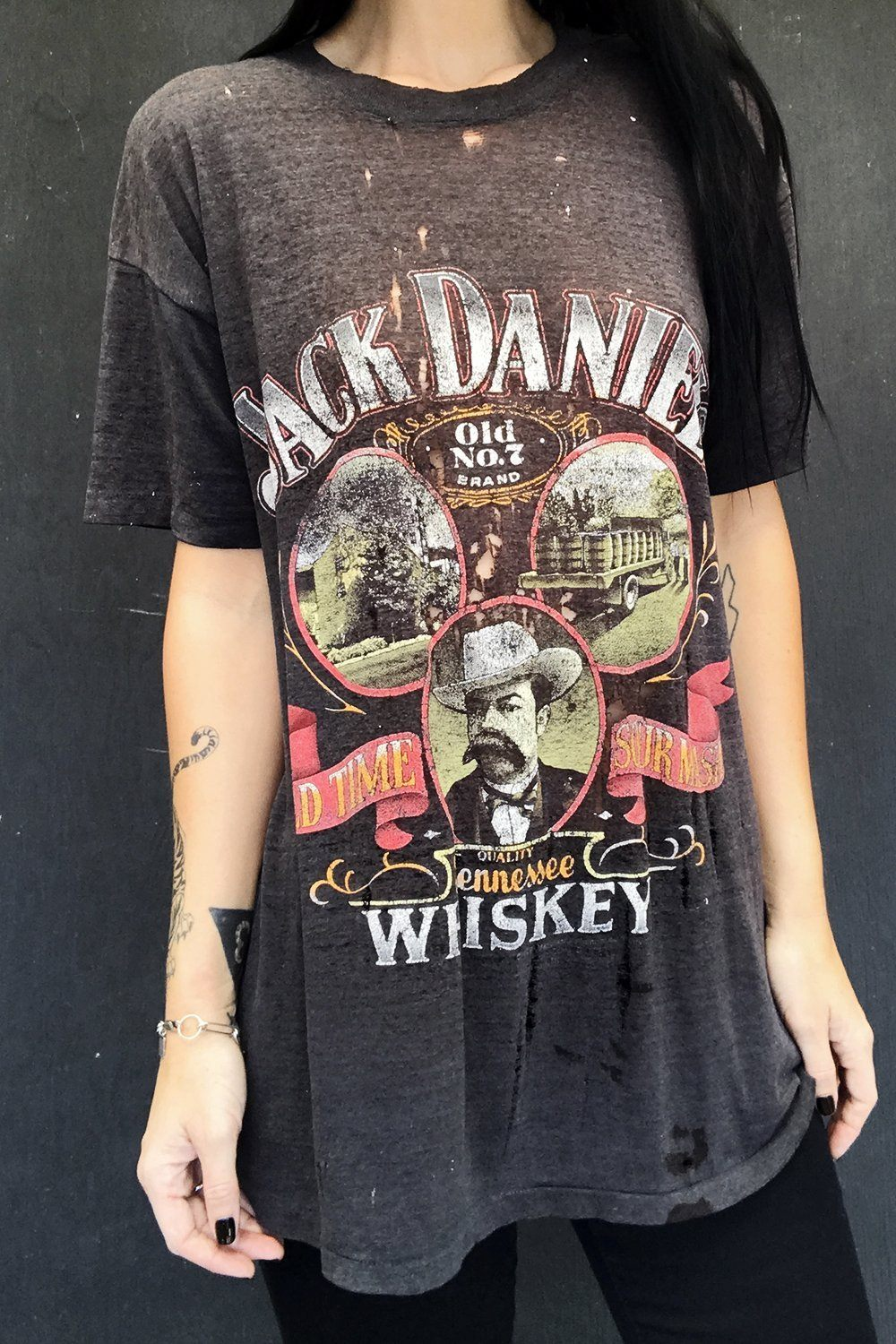 1980s Totally Thrashed Tissue Thin & Slinky Jack Daniels 50/50 Tee, tops, BACKBITE, BACKBITE