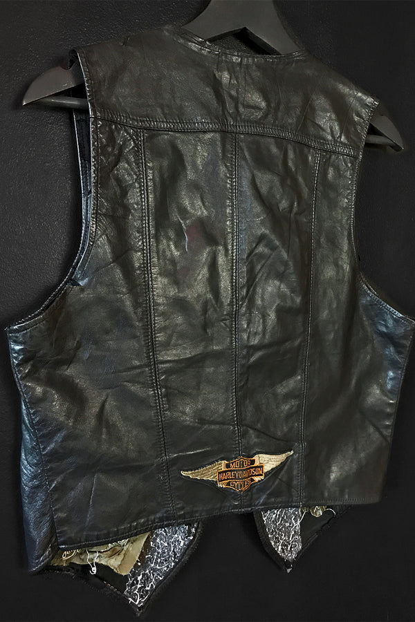 The Perfect Black Leather Harley Patched Vest