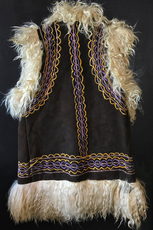 1960s Embroidered Shearling Vest, Vest, BACKBITE, BACKBITE