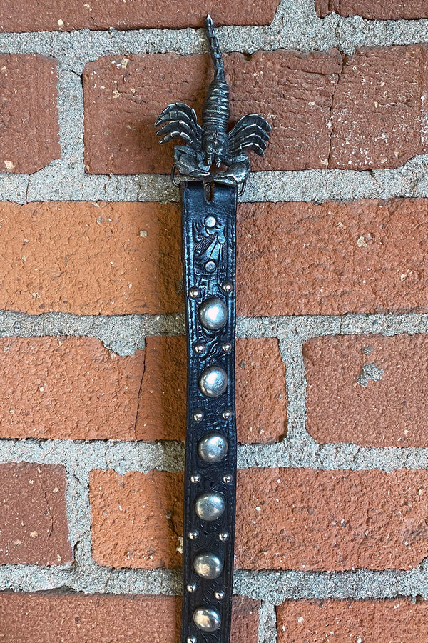 Amazing Studded Black Leather Scorpion Belt, Accessories, BACKBITE, BACKBITE