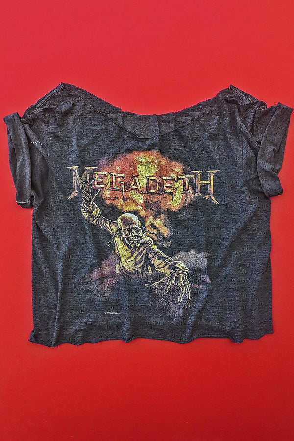 1987 Tissue Thin Megadeth 50/50 Cropped Tee