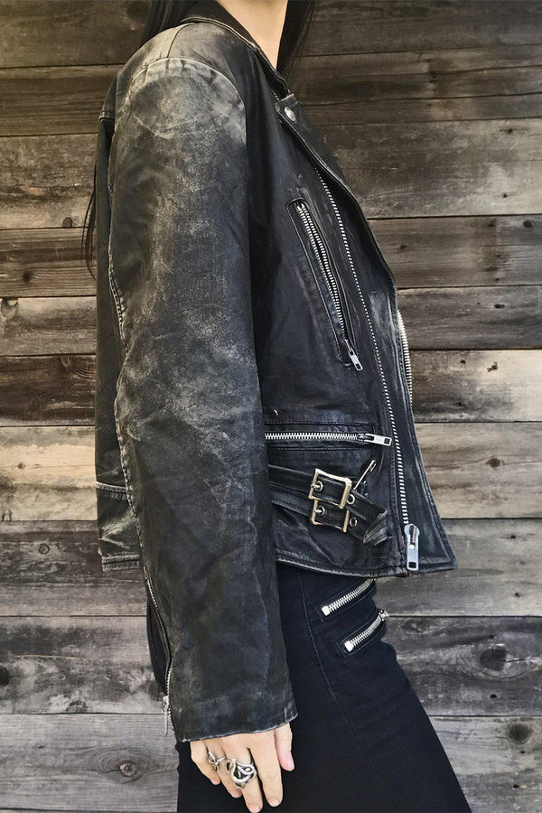 London Dungeon ☠️ Thin & Thrashed Black Leather Jacket