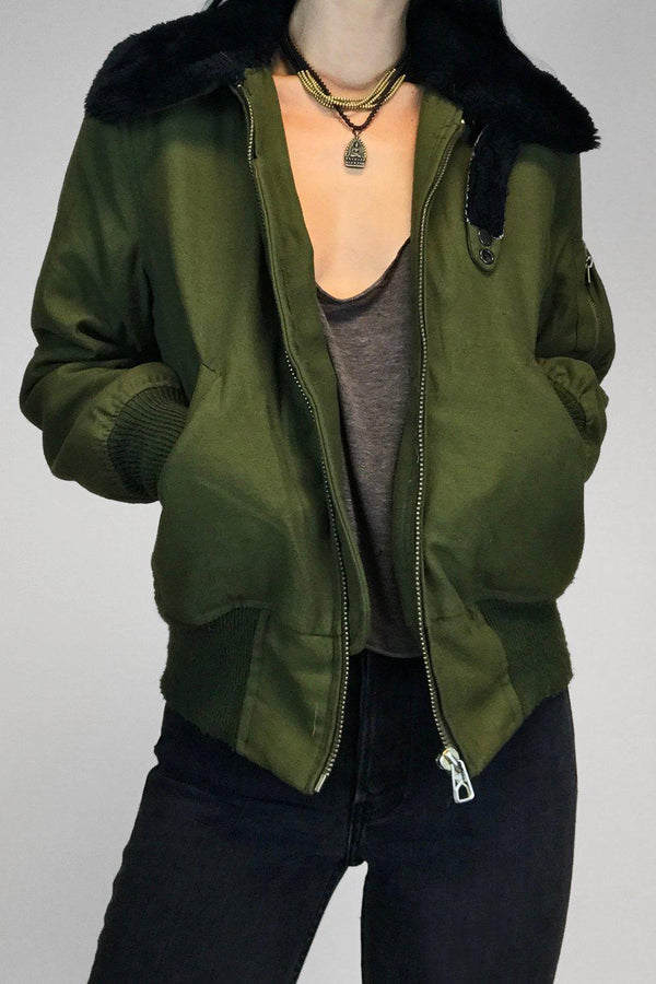 Vintage Green Bomber Jacket w/ Black Faux Fur Collar & Lining
