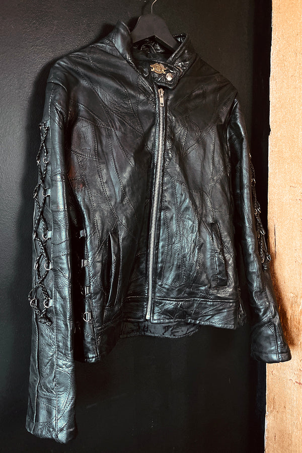 Sex Pistol Buttery Soft Lace-Up Sleeve Black Leather Jacket