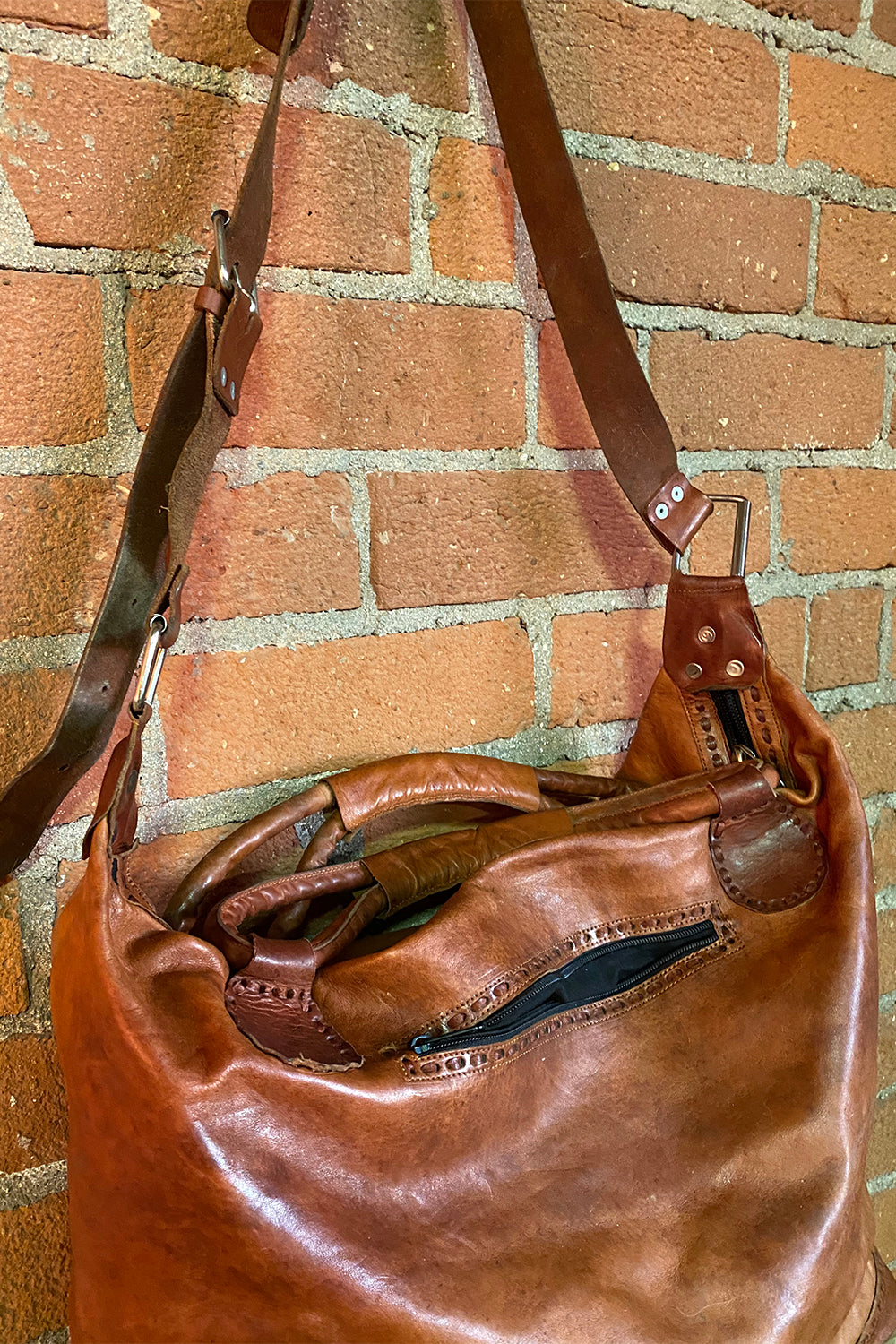 Huge Handcrafted Mexican Leather Travel Bag