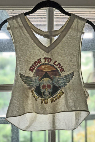 1978 Roach Ride To Live, Live To Ride Paper Thin Cropped Tank Top