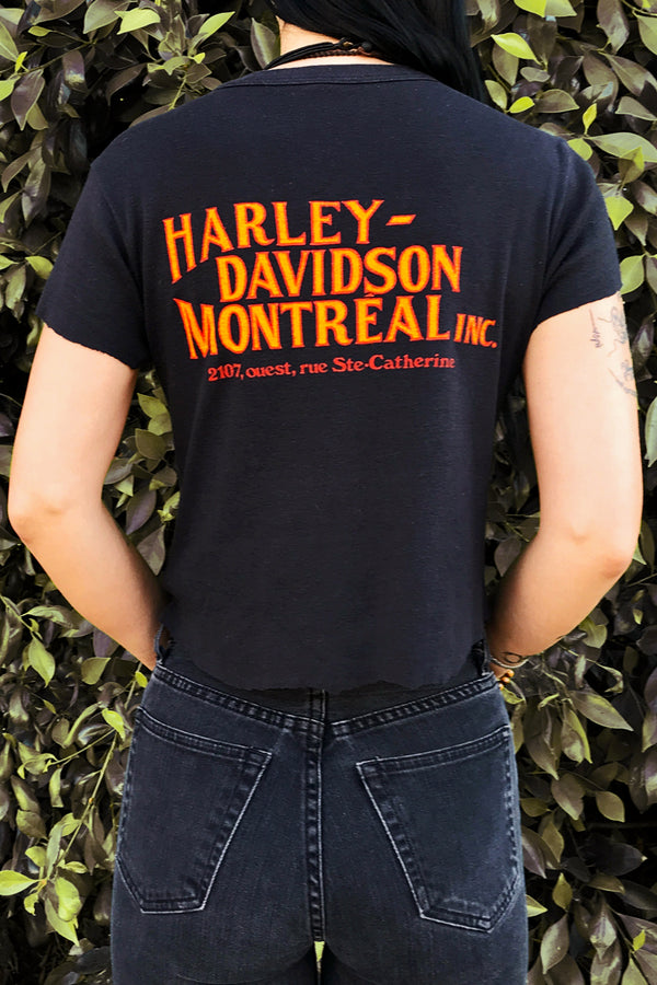 Early 80s Harley Davidson Montreal Paper Thin 50/50 Ribbed Cropped Tee