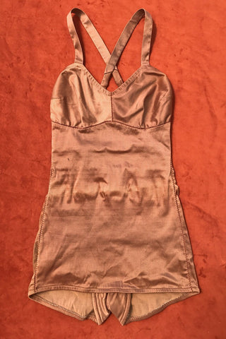 Rare Mabs Original Late 30s or 1940s Nude Blush Nylon/Latex Bathing Suit
