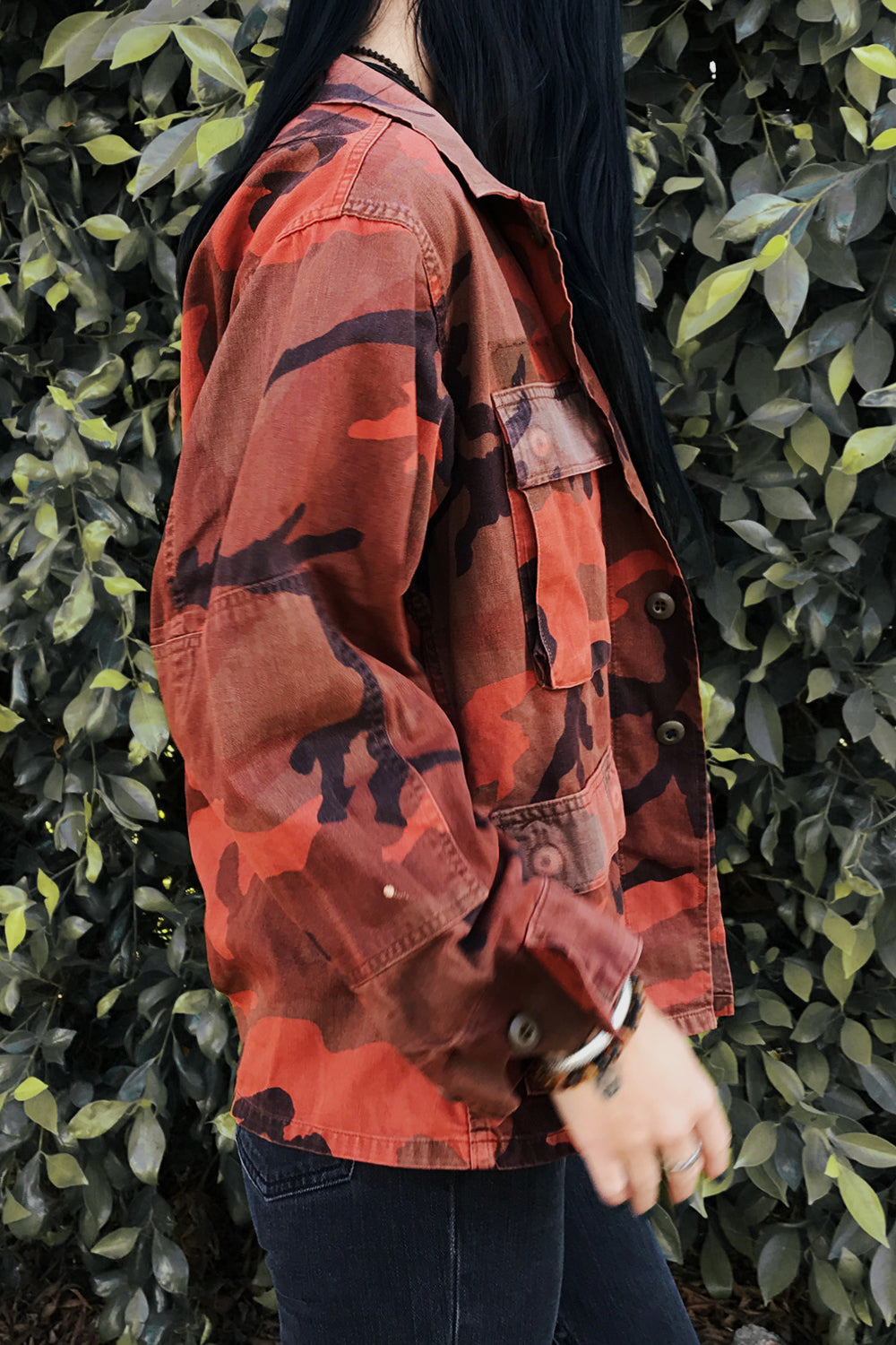 1960s Thin & Worn Coral Camo Army Jacket, Outerwear, BACKBITE, BACKBITE