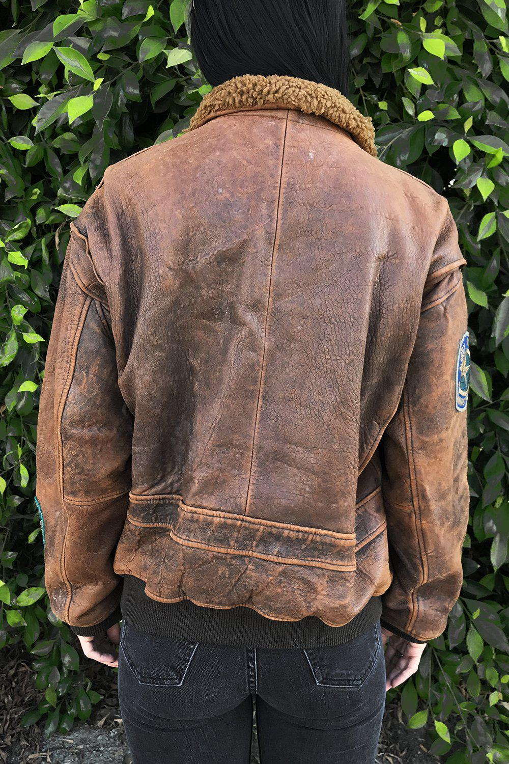 Vintage Patched Leather US Navy Flight Jacket