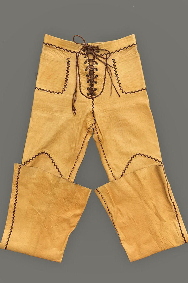 Rare & Authentic 1960s Yellow North Beach Leather Whipstitched Pants