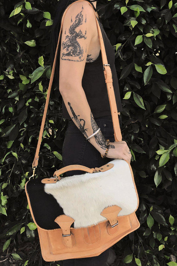 Vintage Cowhide Leather Messenger Bag