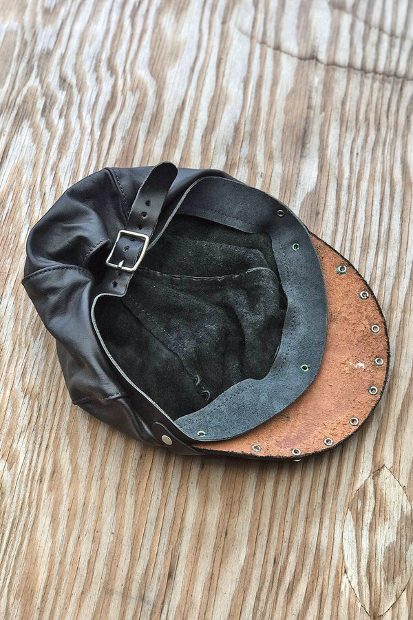 Vintage Studded Leather Adjustable Biker Cap