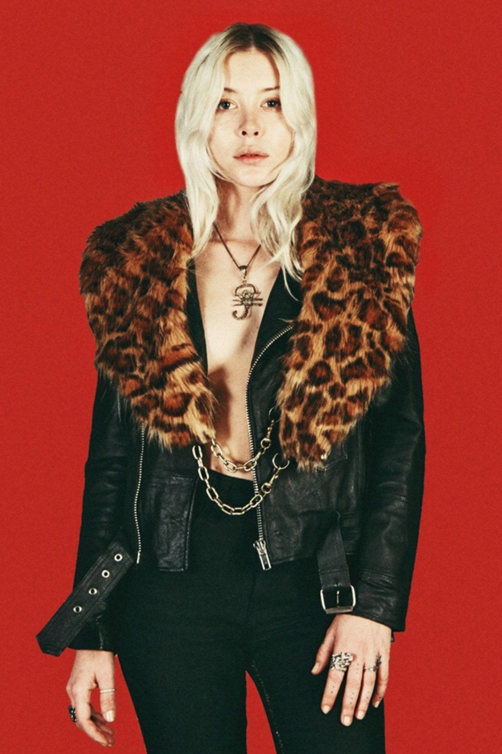 Leopard Faux Fur Chained-Up Stole by Hell Bent Leather