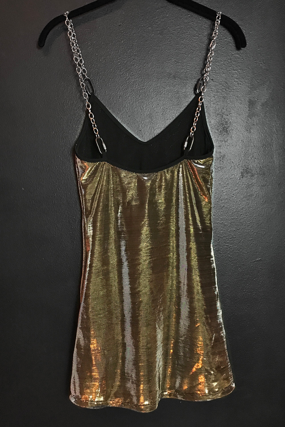PRE-ORDER The Heavy Metal Chain Dress in Silver-Gold Metallic Mesh