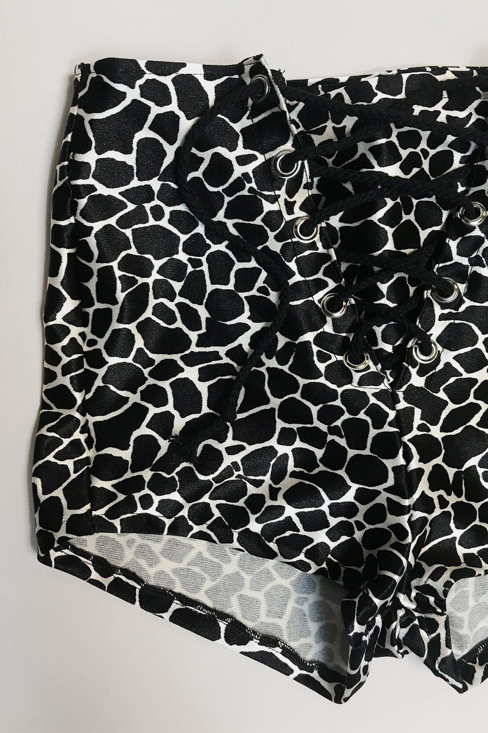 Nylon Spandex Grommet Shorts・Wild Animal, bottoms, BAD VIBES, BACKBITE