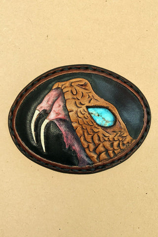 Trippy Tree Handmade Tooled Leather Snake Belt Buckle (With Real Turquoise Eye!)