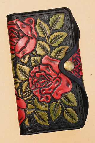 Trippy Tree Handcrafted One Of A Kind Leather Rose Wallet