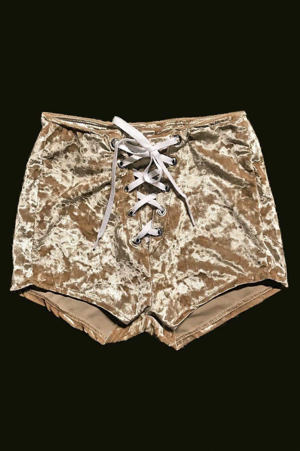 PRE-ORDER Champagne Velvet Grommet Shorts, bottoms, BAD VIBES