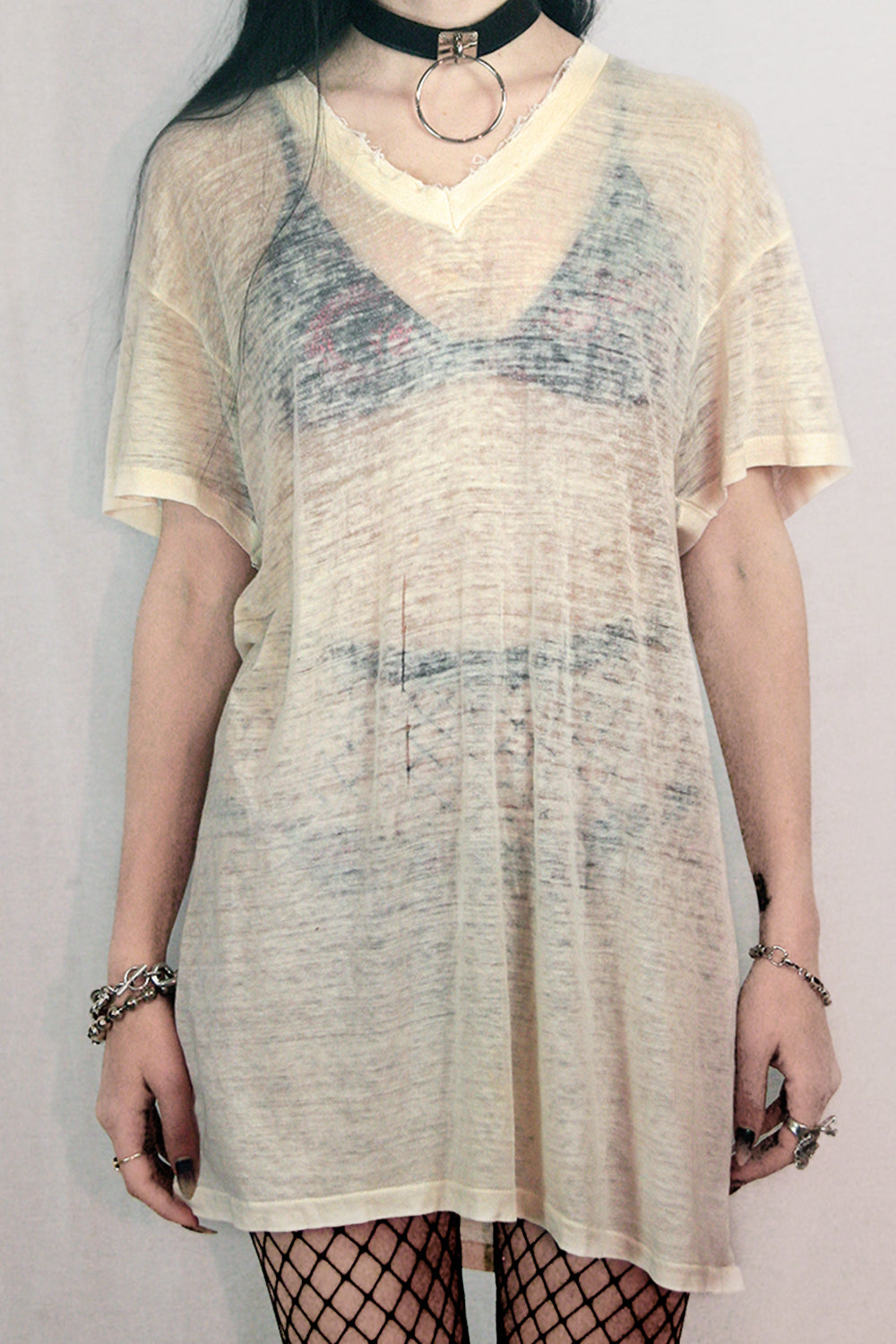 Sheer & Destroyed Vintage White Tee