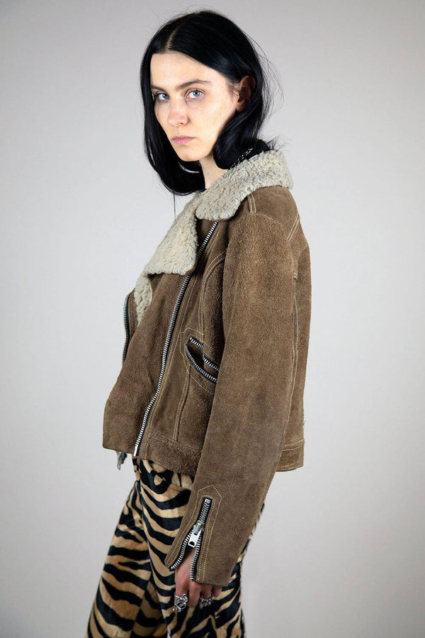 Vintage Suede and Shearling Motorcycle Jacket
