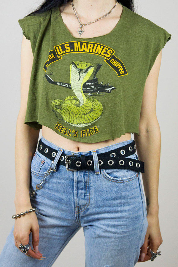 Vintage Paper Thin Hell's Fire Cropped Tee
