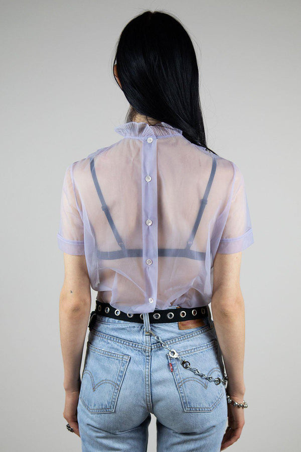Vintage Sheer Ruffle Blouse