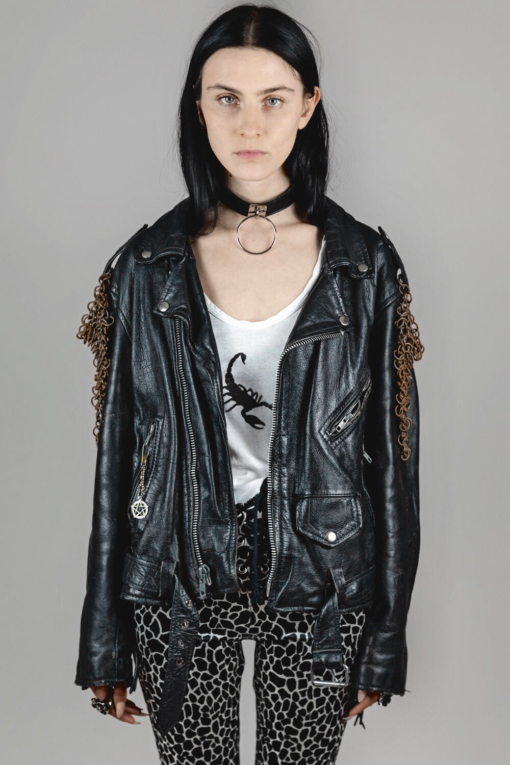 In The City Vintage Motorcycle Jacket w Chainmail