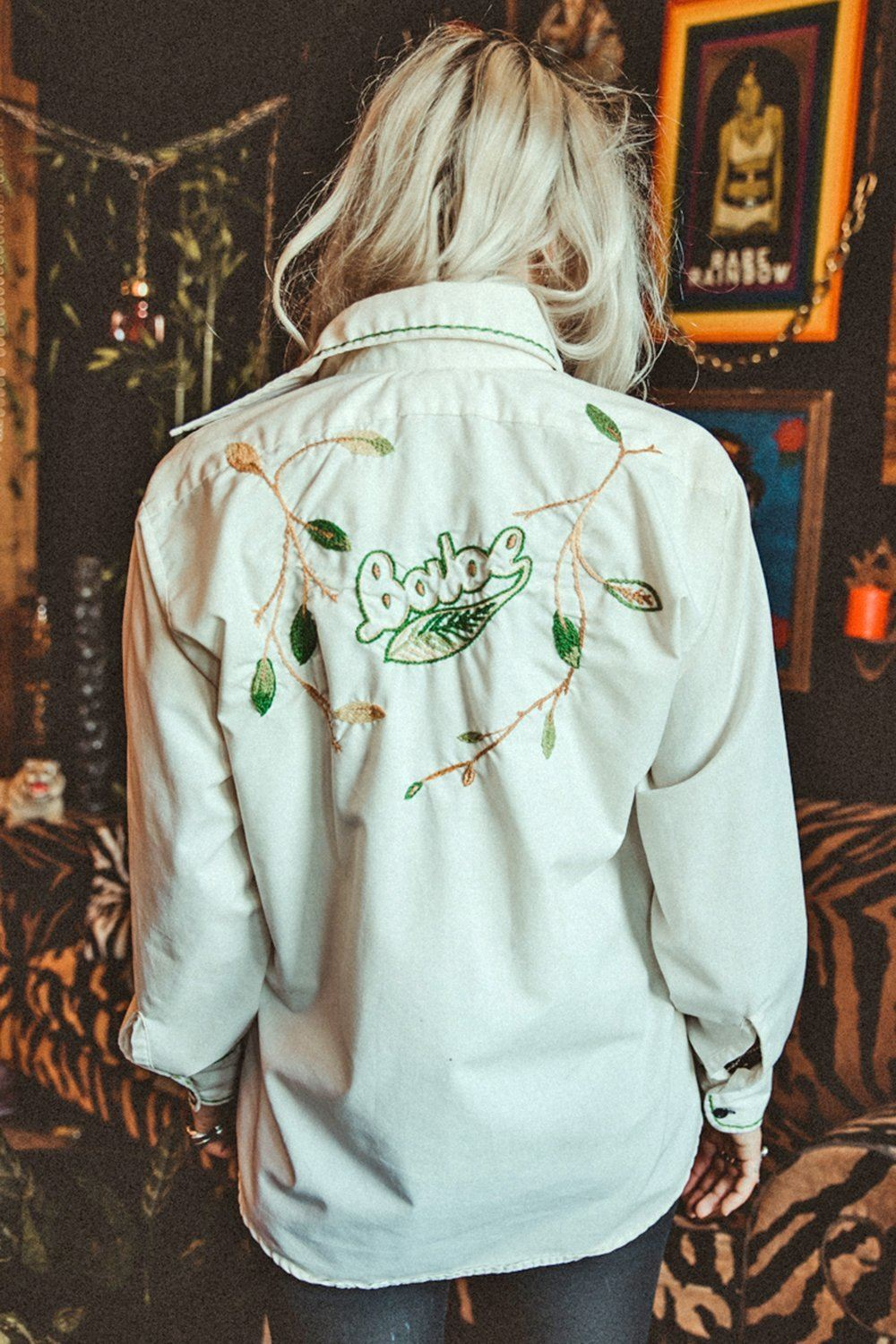 Vintage Hand Embroidered BABE Button Up Top