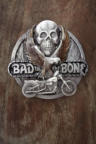Vintage Bad To The Bone Pewter & Enameled Belt Buckle