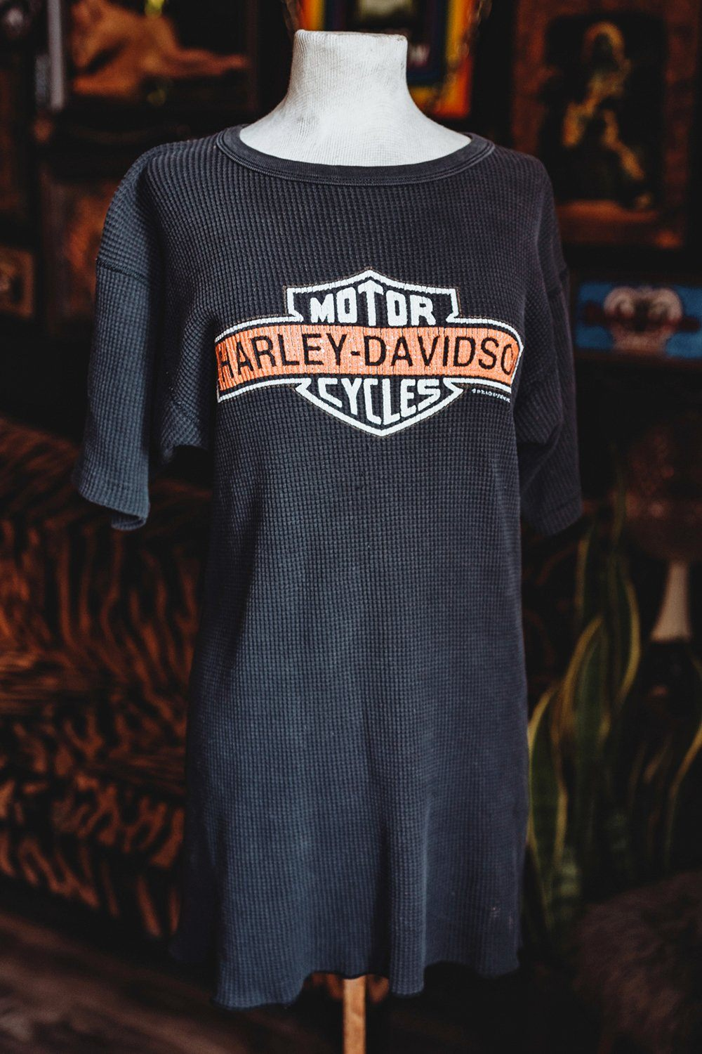 6237ef67 Vintage Black Hills Harley Davidson Long Thermal Tee/Dress – BACKBITE