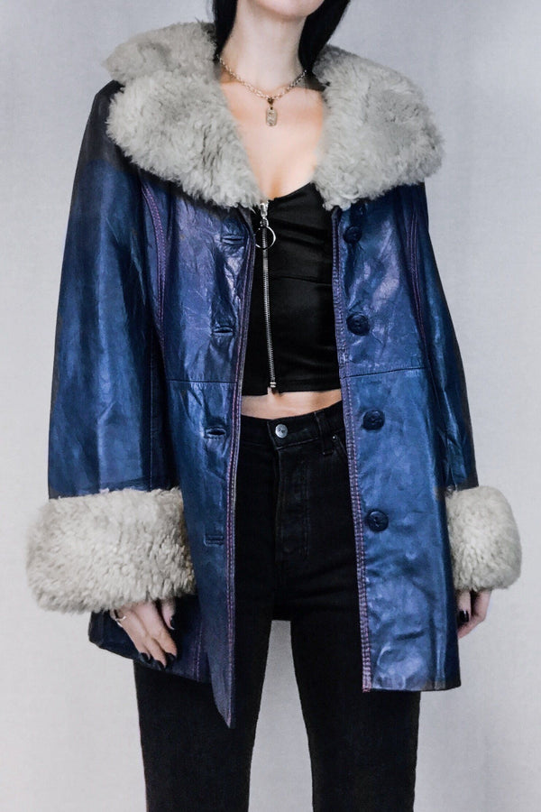 1970s Electric Blue Faux Shearling Penny Lane Coat