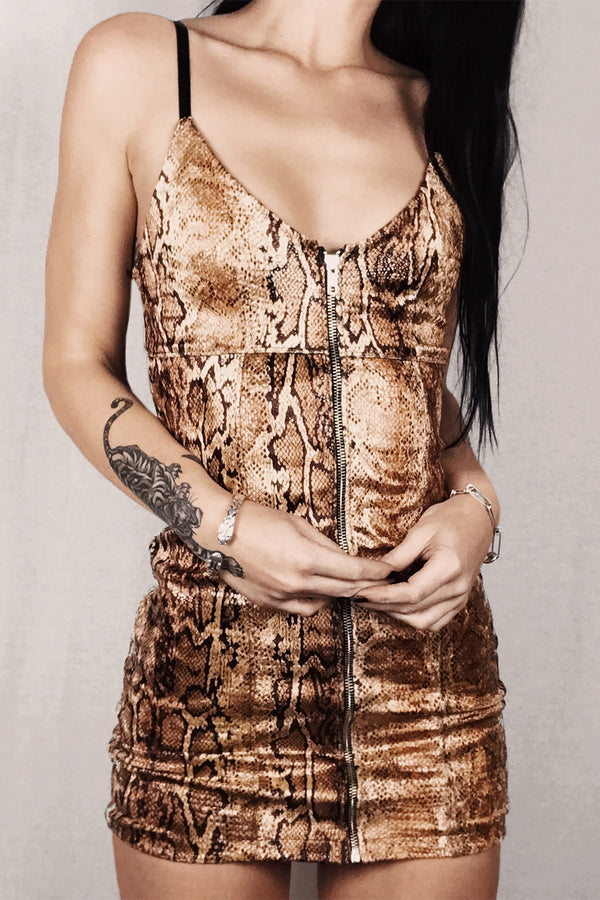 The Bombshell Zip Front Mini Dress in Golden Cobra