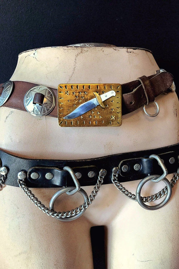 Vintage Brass, Steel & Bone ⚔  Bowie Knife Buckle, Accessories, BACKBITE, BACKBITE