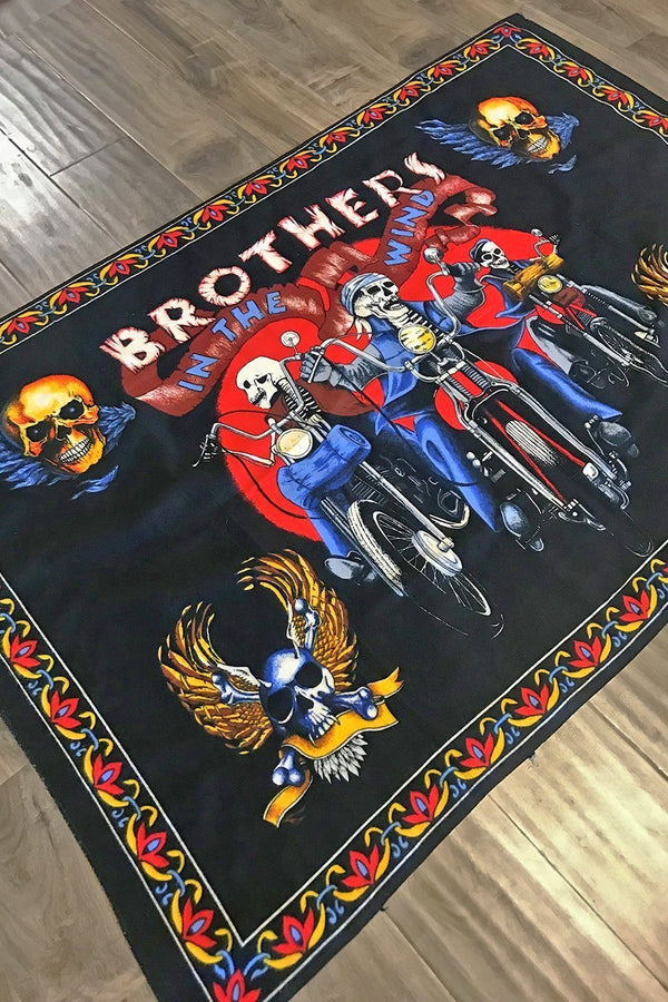 Vintage 80s 'Brothers in the Wind' 52 x 30 Cloth Tapestry
