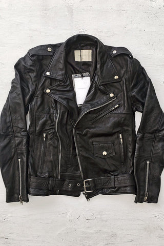 Deadwood Recycled Leather Buttery Soft Biker Jacket