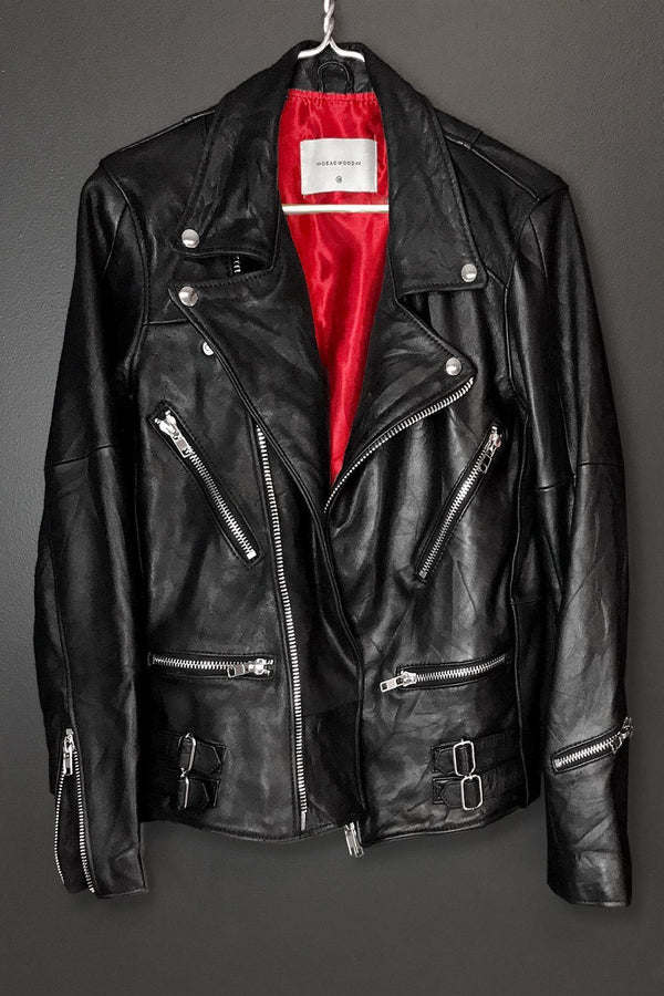 Recycled Leather Buttery Soft Vinnie Jacket (With Red Lining!), Outerwear, Deadwood, BACKBITE