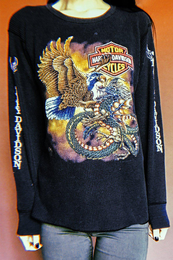 1980s Amazing Dragon & Eagle Waffle Knit Thermal W/ Sleeve Graphics, Tops, BACKBITE, BACKBITE