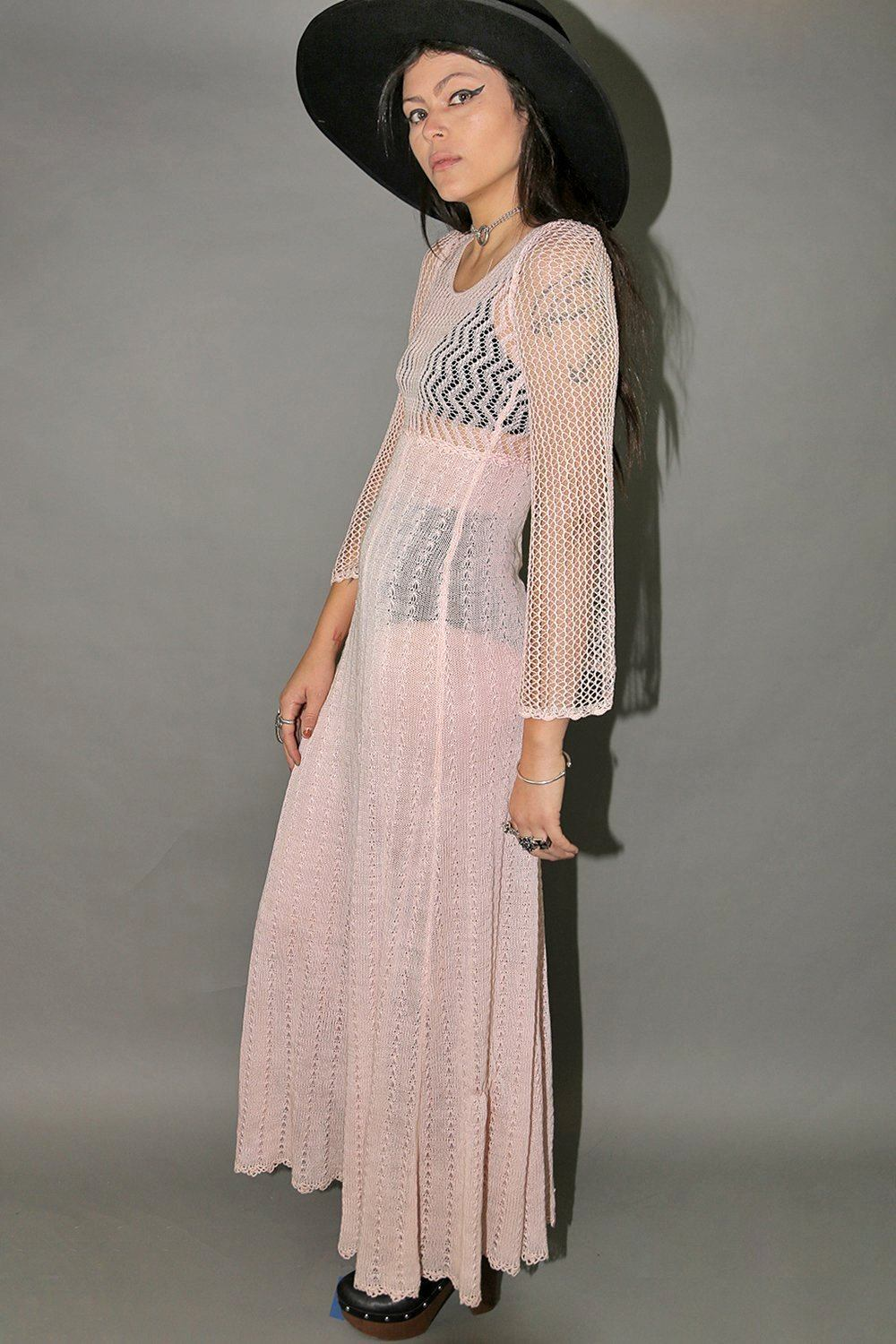 Pink Lemonade Sheer Knit Floor Length Bell Sleeve Dress, Dresses, Cru Le Fix