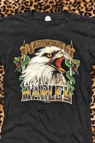 Free To Fly Super Rare 3D Emblem 1980's Harley 50/50 Tee
