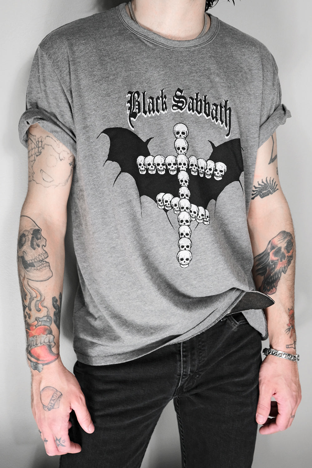 Black Sabbath Grey/Black Unisex 50/50 Tee by Gimme Danger | Made To Order