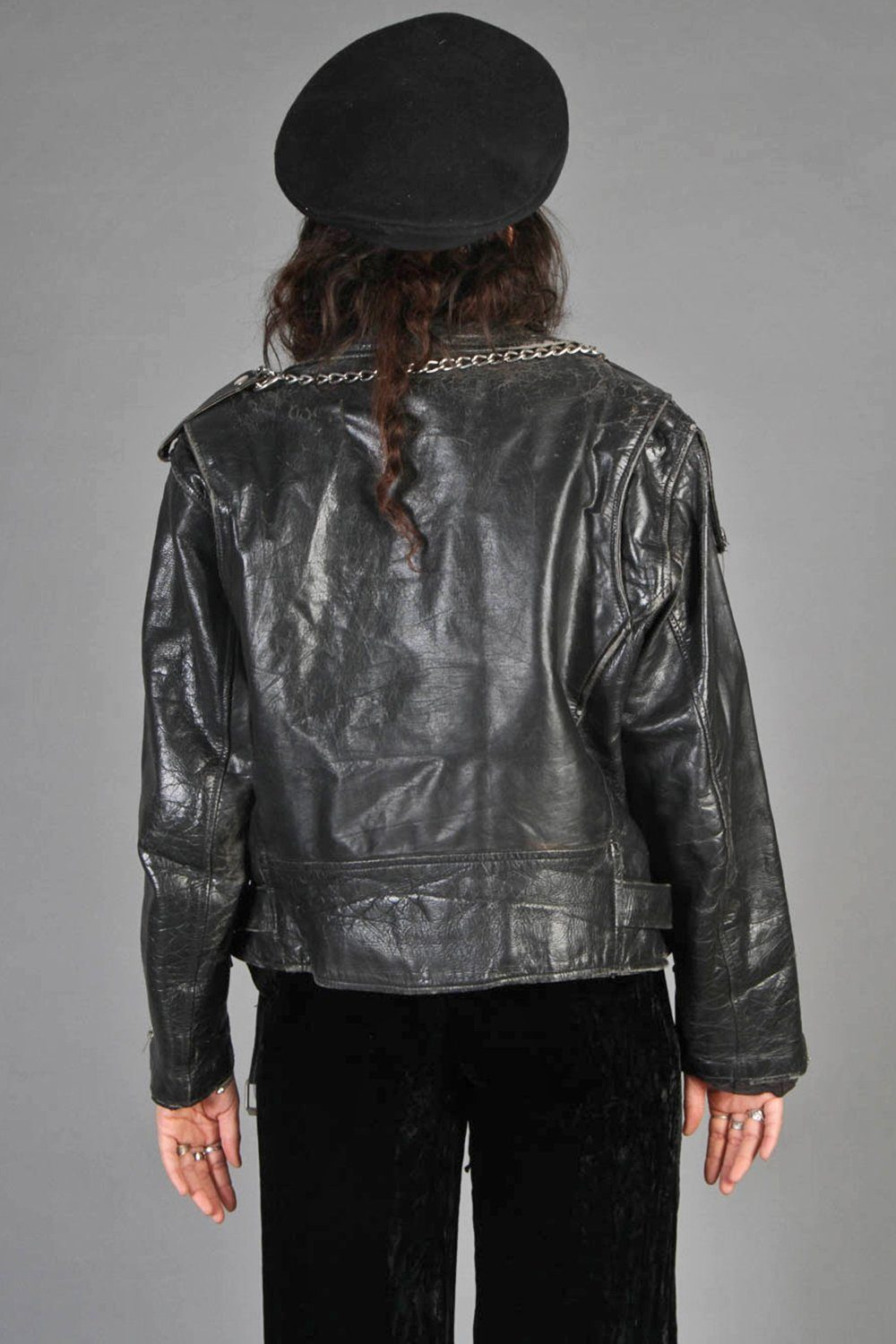 Born To Lose 💣 Heavily Distressed Vintage Leather Moto Jacket
