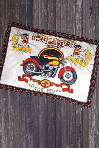 Vintage 'Harleys & Good Whiskey' 48 x 32 Cloth Tapestry
