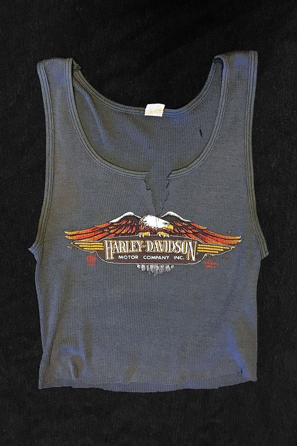 Vintage Worn New York Harley Davidson 50/50 Cropped Tank