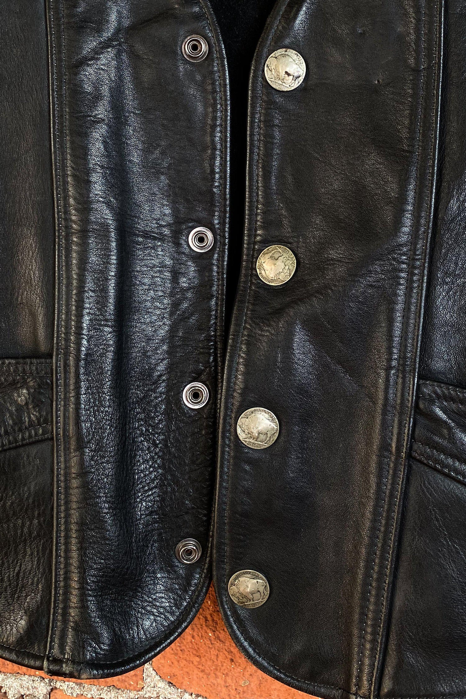 Straight to Hell Black Leather Patched Vest, vest, BACKBITE, BACKBITE