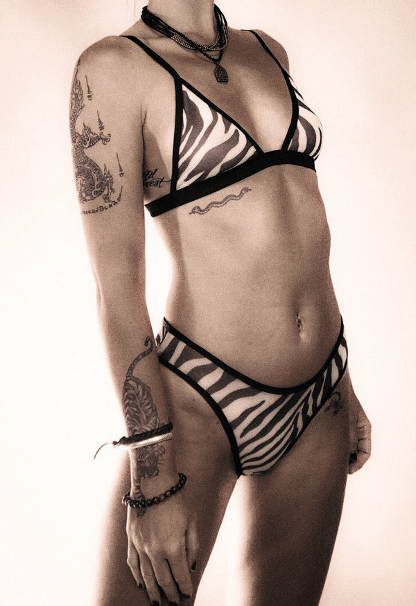 The Lynx Lingerie Set in Zebra Stripe Mesh